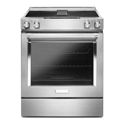 Fototapeta Slide-in Electric Range with Downdraft Isolated on White. Front View of Stainless Steel Range Cooker with 4 Cooking Elements. Kitchen Stove with Four Burner Cooktop. Domestic and Household Appliances