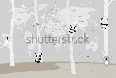 Fototapeta słodkie pandy i koale bawiące się w lesie