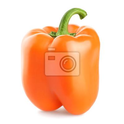 Słodkie papryki pomarańczowy samodzielnie na białym tle