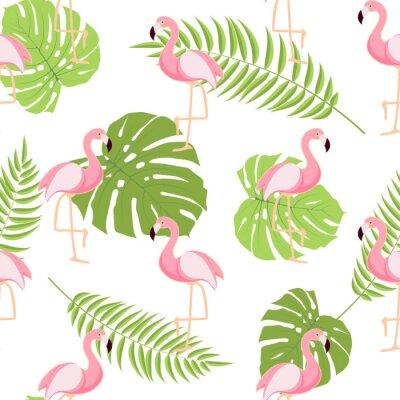 Fototapeta Słodkie Retro Bez szwu Flamingo Wzorzec Tła Ilustracji Wektorowych
