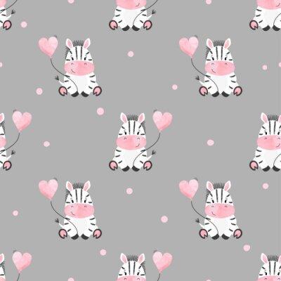 Fototapeta Słodkie zebra z balonu bez szwu deseń. Wektor tła dla dzieci. Dziecko.