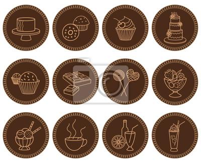 Słodycze i napoje zestaw ikon