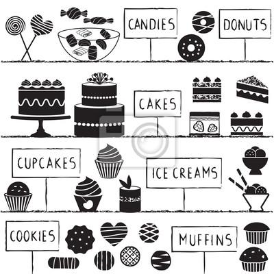 Słodycze symbole ustawione