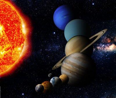 Fototapeta Słońce i dziewięć planet naszego systemu orbit