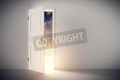 Fototapeta Słońce świeciło przez pół otwarte klasyczne białe drzwi. Koncepcje nowego życia, nadzieja, religia itp. 3D ilustracji