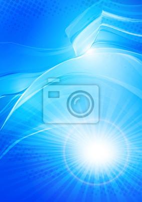Słońce w falach. Świeża woda. Abstrakcyjna niebieski kolor futurystyczny tła z mocą oświetlenia. Jasny układ okładki dla ulotki firmowej, książka biznesowa, broszura, broszura, plakat, banner. Wektor