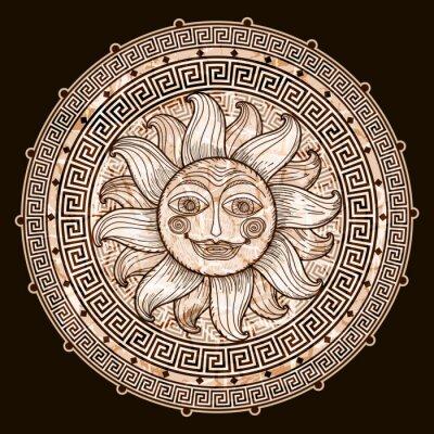 Fototapeta Słońce w ramce z meander.