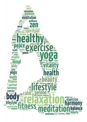 Fototapeta Słowa ilustracja kobieta robi ćwiczenia jogi