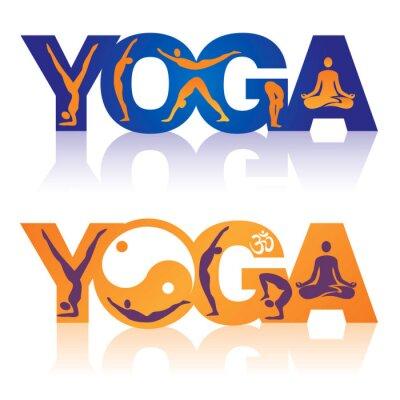 Fototapeta Słowo joga w pozycje jogi ikon