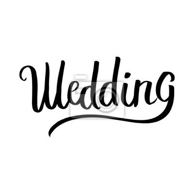 Ślub ręcznie drukiem w wektorze. Może być używany do: kubki, koszulki, pocztówek, zaproszeń i dekoracji.