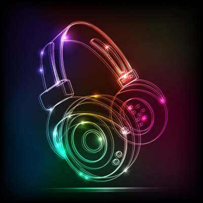 Fototapeta Słuchawki neon Grafika, muzyka grunge