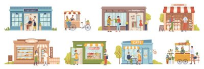 Fototapeta Small business people and building set, shops and stores, cafe and barbershop, buyers and vendors, clients customers. Vector grocery store and bakery, coffee cafe, barbershop, flower store, boutique