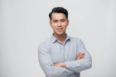 Fototapeta Smart asian business man on white
