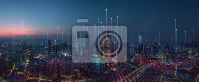 Fototapeta Smart city and abstract dot point connect with gradient line and aesthetic Intricate wave line design , big data connection technology concept .
