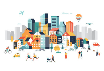 Fototapeta Smart city, landscape city centre with many building, airplane is flying in the sky and people walking, running in park.