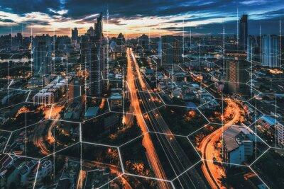 Fototapeta Smart Network and Connection city of Bangkok Thailand
