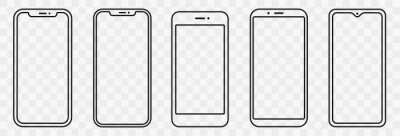 Fototapeta Smartphone outline set. Phone. Mobile phone. Vector illustration