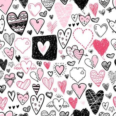 Fototapeta Śmieszne doodle serca ikony wzór. Ręcznie rysowane Valentine