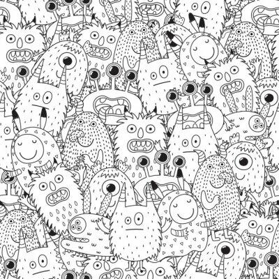 6612cd78ab3698 Fototapeta Śmieszne potwory bez szwu deseń do kolorowania książki.  Czarno-białe tło. Ilustracji