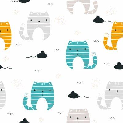 Fototapeta Śmieszny kot z myszy bezszwowym wzorem. Dziecinny nadruk. Wektorowa ręka rysująca ilustracja.