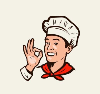 Fototapeta Smiling chef gesture of delicious. Menu, restaurant, food emblem. Vector illustration