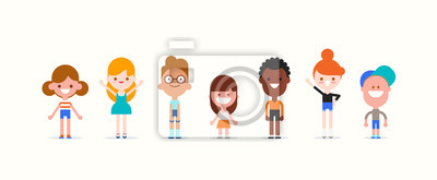 Fototapeta Smiling kids character in flat design style isolated. Diversity children cartoon vector illustration.