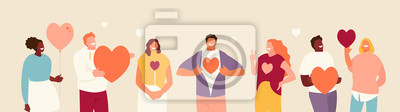 Fototapeta Smiling people group holding hearts. Valentine s Day. Love and volunteering vector illustration