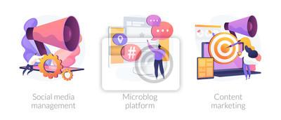 Fototapeta SMM business, internet blogging network, advertising strategy icons set. Social media management, microblog platform, content marketing metaphors. Vector isolated concept metaphor illustrations