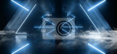 Fototapeta Smoke Neon Laser Glowing Blue Triangle Corridor Sci Fi Futuristic Hallway Tunnel Underground Alien Spaceship Dance Disco Showroom Background Vibrant Beam Gateway 3D Rendering
