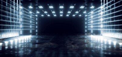 Fototapeta Smoke Sci Fi Futuristic Metal Reflective Schematic Textured Motherboard Floor Realistic Modern Neon Glowing Laser Lines Beams Blue Electric Shape Empty Background 3D Rendering