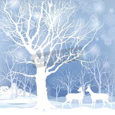 Fototapeta Śnieg zimowy krajobraz z dwa jelenie Streszczenie ilustracji wektorowych lesie zimowe zima śnieg tle