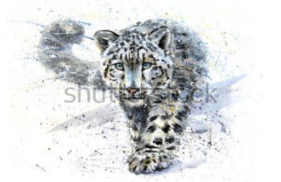 Fototapeta Snow leopard animals watercolor predator wildlife
