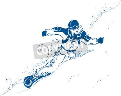 Fototapeta Snowboard Extreme. Wektor abstrakcyjna ilustracji snowboardzista na Mountainside.