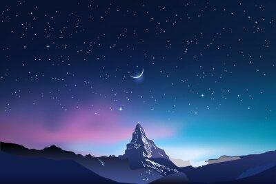 Fototapeta Snowy gór sylwetki, różowy i niebieski nocnego nieba krajobraz z gwiazdami, gwiaździste niebo, półksiężyc, półksiężyc, ilustracji wektorowych