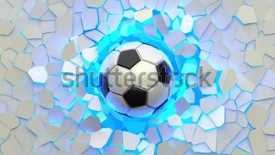 Fototapeta Soccer ball crash blue lighting white wall. The wall was cracked. 3D illustration. 3D high quality rendering.