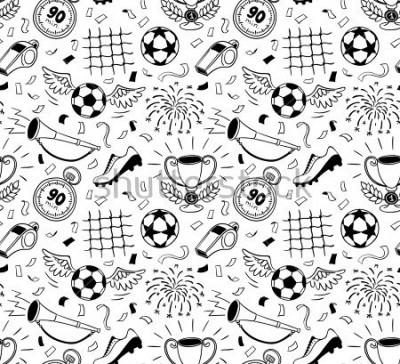Fototapeta Soccer vector background. Vector illustration of seamless football wallpaper pattern for your design