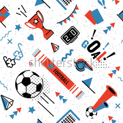 Fototapeta Soccer/football abstract background in 80s memphis style. Seamless memphis pattern for posers and cards. Vector illustration