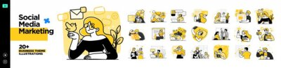 Fototapeta Social Media Marketing illustrations. Mega set. Collection of scenes with men and women taking part in business activities. Trendy vector style