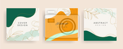Fototapeta Social media stories and post creative Vector set. Background template with copy space for text and images design by abstract colored shapes,  line arts , Tropical leaves  warm color of the earth tone