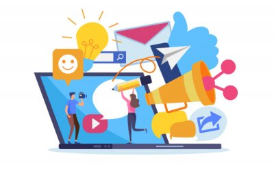 Fototapeta Social network online marketing content. Cartoon illustration vector graphic on white background.
