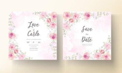 Fototapeta Soft pink floral wedding invitation card