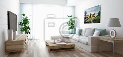 Fototapeta Soggiorno moderno con divano, televisore e parkiet