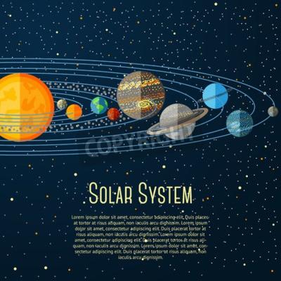 Fototapeta Solar banner system z słońca, planet, gwiazd. ilustracji wektorowych