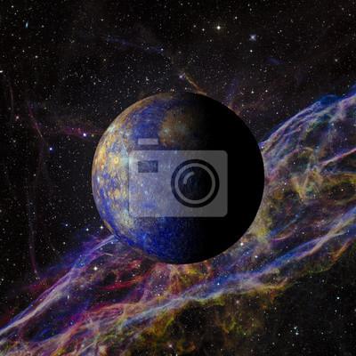 Fototapeta Solar System Merkurego na tle mgławicy renderowania 3d. Elementy tego zdjęcia dostarczone przez NASA