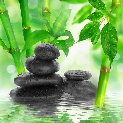 Fototapeta Spa background - czarne kamienie i bambusa na wodzie
