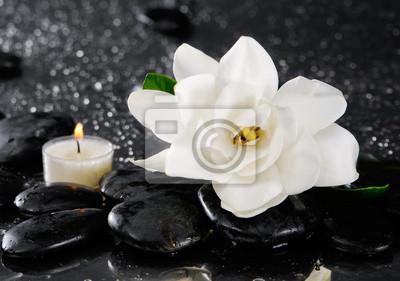 Spa z kwiatem gardenii wciąż i świeca na kamyki