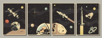 Fototapeta Space Astronautics Posters, Astronaut, Spacecraft, Rockets, Planets, Asteroid, Retro Style