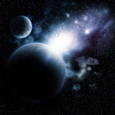Fototapeta Space background with fictional planets