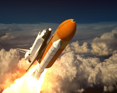 Fototapeta Space Shuttle w chmurach