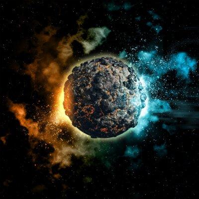 Fototapeta Space tle z wulkanicznej planety